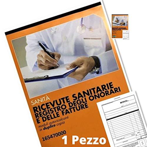 Flex 165470000 Blocco Ricevute Sanitarie 2 Copie Registro degli Onorari e delle Fatture moduli autoricalcanti duplice copia blocchetto fatture professioninsti