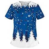 LBTIAN Tunic Tops Tops de la Salud Tops Impresos de la Navidad de Las Mujeres, Túnica de la Salud, Manga Corta Tshirt Nurses, Hospital Workwear Medical Doctors Top Uniform Working Set Traje