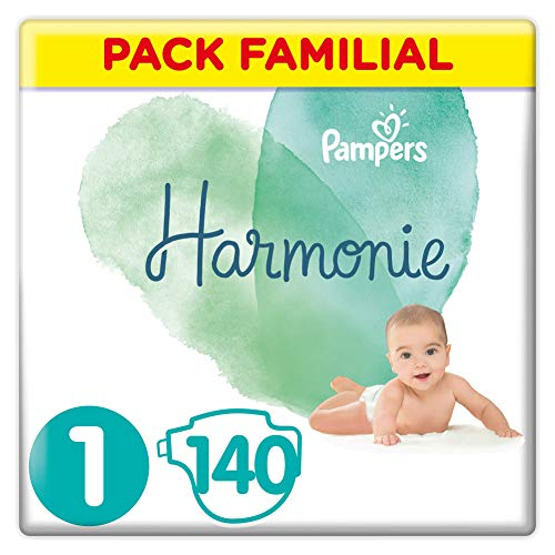 Couches Pampers Taille 1 (2-5 kg) - Harmonie Couches, 140 couches, Pack Familial
