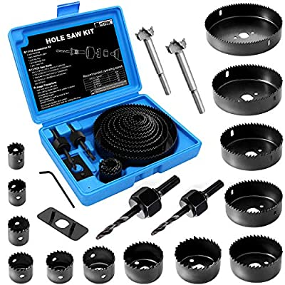 """Hole Saw Set, 22PCS Hole Saw Kit with 13Pcs Saw Blades, General Purpose 3/4"""" to 5"""" (19mm-127mm) Hole Saw, Mandrels, Hex Key with Storage Box, Ideal for Soft Wood, PVC Board from PETUOL"""