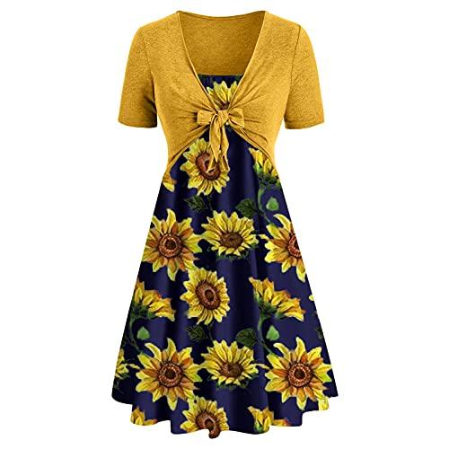 YXIU Vestido de mujer de manga corta y con estampado de tubo, vestido de mujer, vestido para boda, confirmación Amarillo A. M