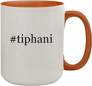 #tiphani - 15oz Hashtag Colored Inner & Handle Ceramic Coffee Mug, Orange