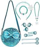 hifot paillettes borsetta bambina, borsa a tracolla ragazza collana bracciale orecchini anelli fermagli elastici per capelli cerchietti gioielli set, natale compleanno regalo