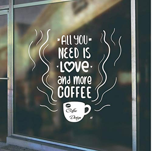 Pegatina De Pared Coffe Cup Window Glass Logo Decals Tea Time Store Pegatinas De Pared Coffee Shop Sign Art Mural Removable Kitchen 57X57Cm 9P