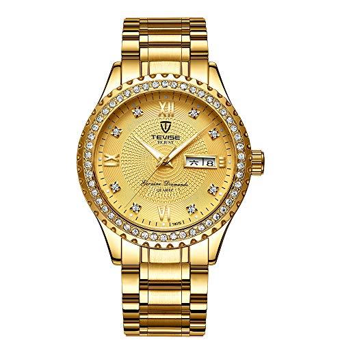 Relojpara Hombres Relojes nuevos Relojes para Hombres de Marca Cronógrafo Relojes con Diamantes completos Relojde Cuarzo Impermeable de Acero Completo para Hombres