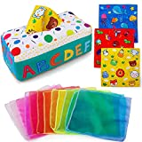 teytoy My First Baby Tissue Box, Soft Stuffed High Contrast Crinkle Montessori Square Sensory Toys Juggling Rainbow Dance Scarves for Toddler, Infants, Newborns and Kids Educational Preschool Learning