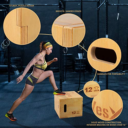 Yes4All Wood Plyo Box/Wooden Plyo Box for Exercise, Crossfit Training, MMA, Plyometric Agility – 3 in 1 Plyo Box/Plyo Jump Box (16/14/12)