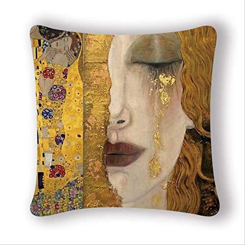 N\a 45 * 45 Cm Gustav Klimt Pittura A Olio Fodere per Cuscini Fodere per Cuscini Fodere per Cuscini Decorative Vintage Fodere per Cuscini per Sedie