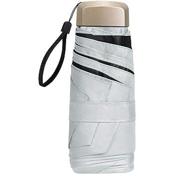 Ombrello compatto tascabile protezione solare in tessuto Pongee anti-UV e impermeabile piccolo ombrello pieghevole in lega di alluminio e gomma bianco white taglia unica Llfs