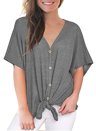 MIHOLL Womens Loose Blouse Short Sleeve V Neck Button Down T Shirts Tie Front Knot Casual Tops (Medium, P- Dark Grey)