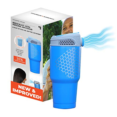 Breeze Blast Ultra by Sharper Image New & Improved Personal Air Cooler, Portable, Use Indoor/Outdoor, Includes- Unit, 1 Blast Pack Ice Pack- Blue