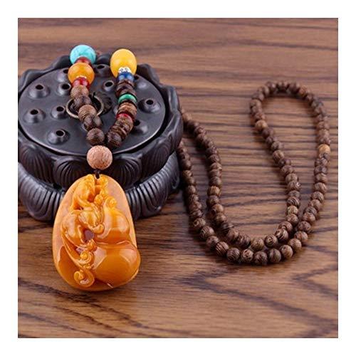 chenyou Collar con colgante hecho a mano budista de cuentas de madera Mala colgante y collar étnico de calabaza, diseño de flores, joyería para hombre (color de metal: Style9)