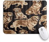 装飾的なゲーミングマウスパッド、黒ゴールデンレトリバーおかしい犬のペット、滑り止めゴムベース付きのオフィスコンピューターマウスマット
