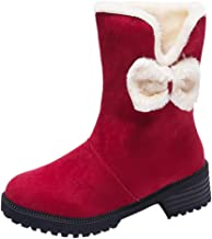 ✪COOLGIRLS✪~Shoes Women Snow Mid-Calf Boots Fashion Winter Suede Slip-On Round Toe Square Heel Warm Outdoor Shoes