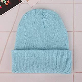 Wooly Sell well Simple Solid Color Warm Pullover Knit Cap for Men/Women(White) golf accessories (Color : Light blue)