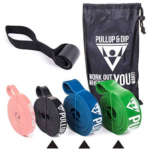 PULLUP & DIP Fitnessbänder Widerstandsbänder Tasche und gratis Übungsanleitung - Klimmzugband Widerstandsband Pull Up Resistance Band – Fitnessband Klimmzughilfe in 3er-Set (Light + MEDIUM + Strong)