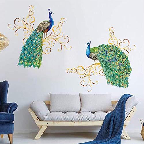 decalmile Peacock Wall Decals Animal Bird Wall Stickers Living Room Bedroom Wall Art Decor