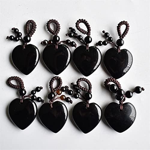 YSJJMES Cristal 8 unids/Lote Hermoso Negro Negro de Onyx Heart Charms Colgantes 25mm para la fabricación de joyería Hecha a Mano (Metal Color : Black Onyx)