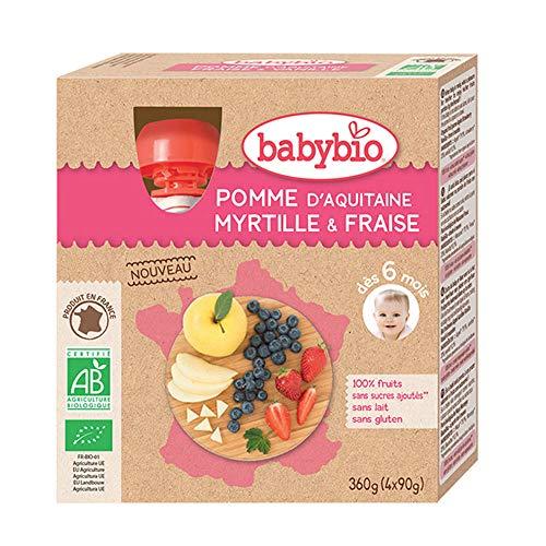 Babybio - Gourdes Fruits - Pomme Myrtille Fraise 4x90 g - 6+ Mois - BIO