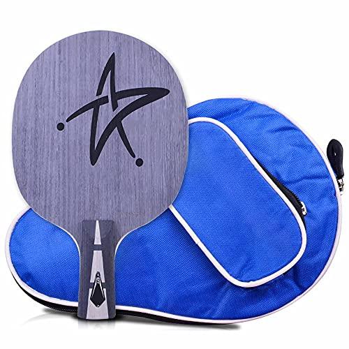 HXFENA Placa Inferior de Raquetas de Tenis de Mesa,Palas de Ping Pong Ofensiva Profesional 7 Capas de Placa Inferior de Madera Pura con Bolsa de Transporte/A/Mango corto