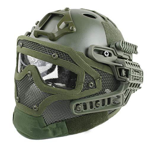 WLXW Taktischer Multifunktionshelm, ABS-Vollgesichtshelm (G4-System/PJ) Mit Abnehmbarer Schutzbrille Aus Stahlgitter Für Paintball CS-Spielreiten Mit Luftgewehr,Green