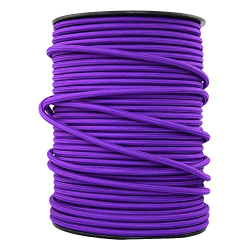 smartect Lampenkabel aus Textil in der Farbe Lila - 3 Meter Textilkabel - 3-Adrig (3 x 0.75mm²) - Textilummanteltes Stromkabel für DIY Projekt