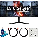 LG 38GL950G-B 38-inch Curved WQHD+ 3840 x 1600 Nano IPS Display Gaming Monitor Bundle with 2X Deco Gear 6FT 4K HDMI Cable, Screen Cleaner (Large Bottle) and 6-Outlet Surge Adapter with Night Light