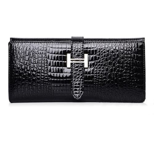 e82d3c2e74ec87 Eonice Fashion Womens Wallet Croco Embossed Genuine Leather Wallet Women  Purse Black