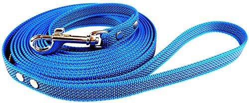 Dogs Stars Gummierte Schleppleine blau - 4m lang - Verschiedene Breiten - mit Handschlaufe