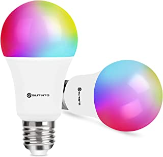 Smart WiFi LED Light Bulb Dimmable 9W 1000Lm, slitinto E26 Multicolor Light Bulb Compatible with Alexa, Echo, Google Home(No Hub Required), A19 90W Equivalent RGB Color Changing Bulb-2 Pack