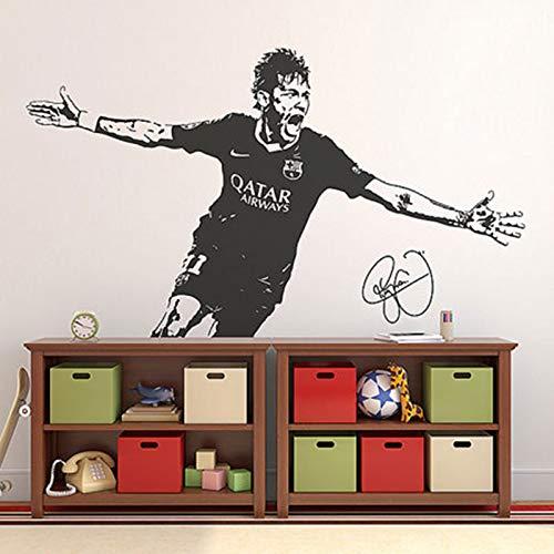 Fútbol deportes Brasil jugador de fútbol Neymar Silva Junior vinilo pegatina de pared calcomanía niño ventiladores dormitorio sala de estar Club estudio decoración del hogar Mural