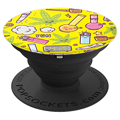 Marijuana Leaf Bong Joint Pipe Pattern PopSockets Grip and Stand for Phones and Tablets