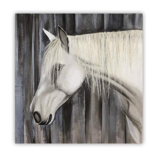 Casablanca - Bild Cavallo Leinwand weiß/Creme/grau/schwarz Pferdemotiv mit künstlicher Mähne aus Sisal