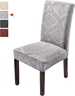 Delight Dining Room Chair Covers,Velvet Stretch Chair Covers for Dining Room,Removable Washable Dining Chair Slipcover 6PCS-Grey(Has Lavender Tint)