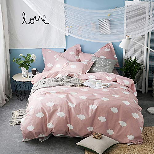 BuLuTu Cloud Print Kids Duvet Cover Twin Pink White Cotton for Girls,Stylish Super Soft Premium Cute Modern Reversible Pink Teen Bedding Sets Twin Comforter Cover with Zipper Closure,No Comforter
