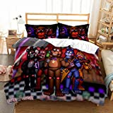 Supstar Five Nights at Freddy's Bedding Set for Kids Adult Queen Size 3 Pieces Duvet Cover Sets Bed FNAF 3