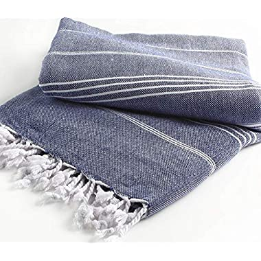 Cacala Pestemal Blanket Throw Turkish Striped Beach Towel Picnic Home Bed 59x79 TM Darkblue