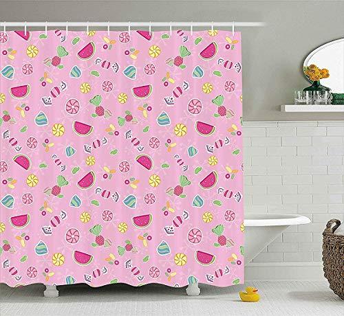 prz0vprz0v Sweet douchegordijn, snoepjes Yummy behandelt watermeloen creatieve heerlijke smaken kinderen ontwerp, stof badkamer decoratieset met haken, 72W x 79L Inch badgordijn, licht roze magenta munt