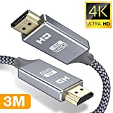 4k Hdmi Kabel 3Meter,Snowkids 4K@60Hz Highspeed 18Gbps Hdmi 3m 2.0 Kabel,Nylon Geflecht Vergoldete Anschlüsse mit Ethernet/Audio Rückkanal, Kompatibel mit Video 4K UHD 2160p,HD 1080p,3D Xbox PS3/4 PC