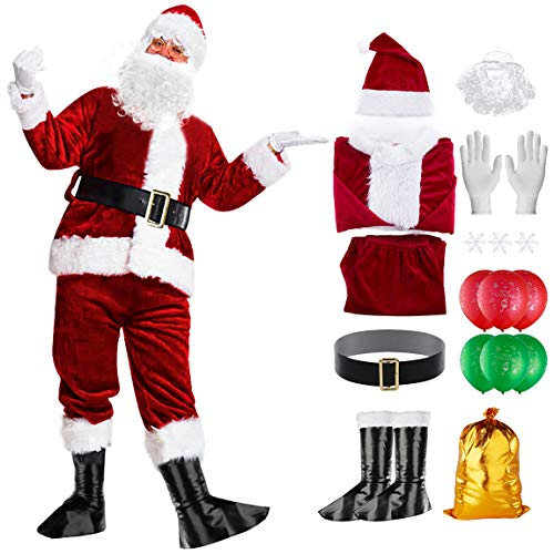 Santa Suit Santa Claus Costume for Men Adults Deluxe Velvet Christmas Costume with Beard