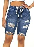 luvamia Women's Summer Ripped Hole Washed Distressed Elastic Waisted Casual Short Jeans Denim Blue Size Medium