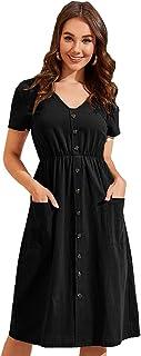 New 2021 Women's Dresses-Short Sleeve V Neck Button Decoration T Shirt Midi Skater Dress with Pockets