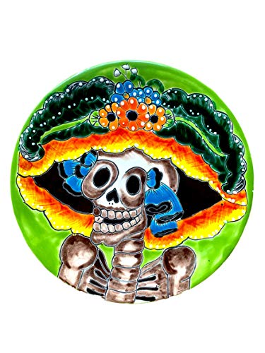 Colorful Handmade Decorative Ceramic Catrina Plate - Authentic Mexican Talavera Plates - 12'- Plato Catrina (Green-Verde)