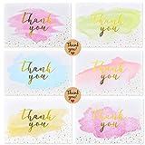 [48 PCS] Ipow Kit de 6 estilos tarjetas de agradecimiento con sobres, tarjetas vintage chapadas en oro para escribir con calcomanía para bodas, cumpleaños, Navidad, Comunion - Plegable 10 x 15 cm