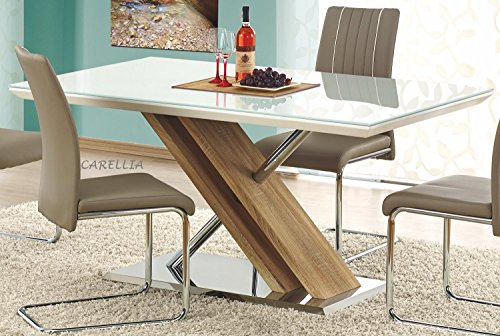 Table A Manger RECTANGULAIRE - L : 160 CM X P : 90 CM X H : 76 CM - Couleur : Blanc/Chene Clair