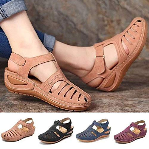 Giow Zapatos de Mujer Summer Retro Hook Loop Closure Antideslizante Hollow Beach Wedge Sandals Fashion Retro Sandalias de Mujer Marrón 42