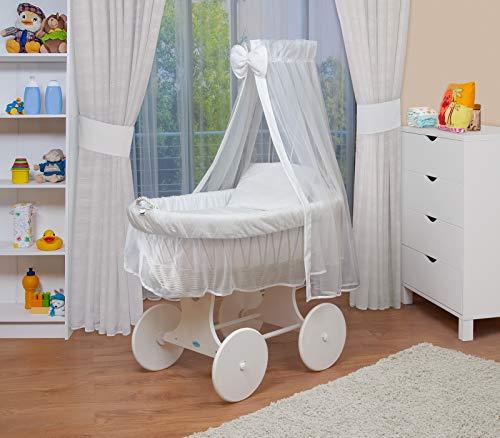 WALDIN Culla con cappotta,Culla con ruote XXL,IN 24 VARIANTI,telaio/ruote laccato in bianco,colore tessile bianco
