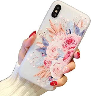 iPhone X Case,Tropical Colorful Flower Printed Slim Fit Case for Girls Soft Bumper Shockproof Matte Back Cover Pink Rose Design for iPhone X XS iPhone 10 Blossom
