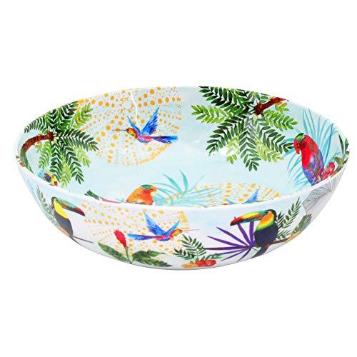 Les Jardins de la Comtesse - Grand Saladier en Mélamine Pure – Toucans de Rio - 4L / Ø 31 cm – Multicolore - Service de Table de la Vaisselle Quasi-Incassable MelARTmine