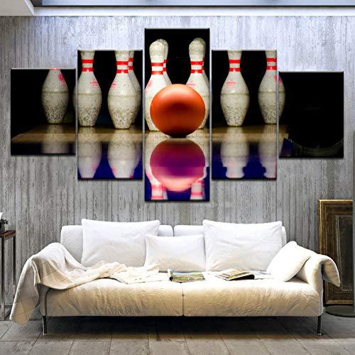 GHTAWXJ 5Panel HD Printed Bowling Sport Wandplakate Druck auf Leinwand Kunstmalerei Für die Dekoration von Wohnräumen zu Hause